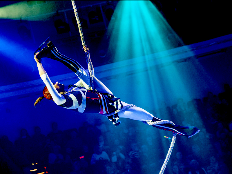 Moscow circus on ice aerial rope acrobat girl