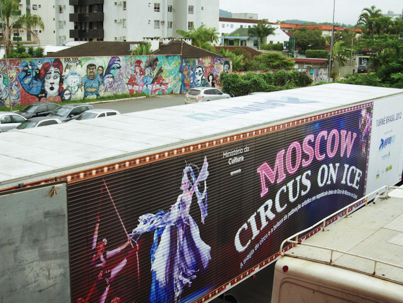 Moscow circus on ice banner on brazillian truck
