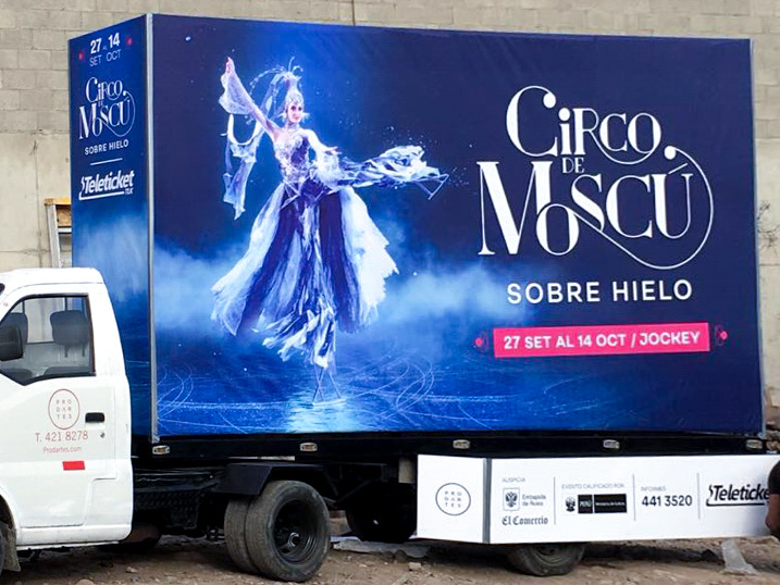 Moscow circus on ice banner on truck in Lima