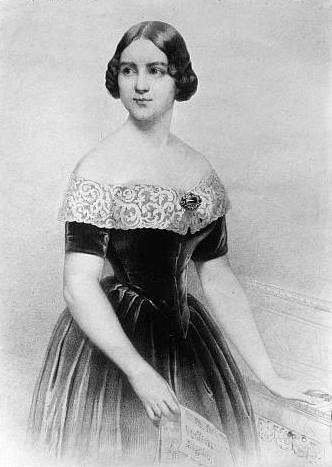 Portrait of Jenny Lind swedish opera singer loved by Hans Christian Anderson. Prototypeof Snow Queen character