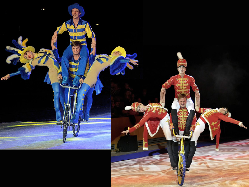 Collage Moscow circus on ice bicycle pyramid Chicago-Gusari