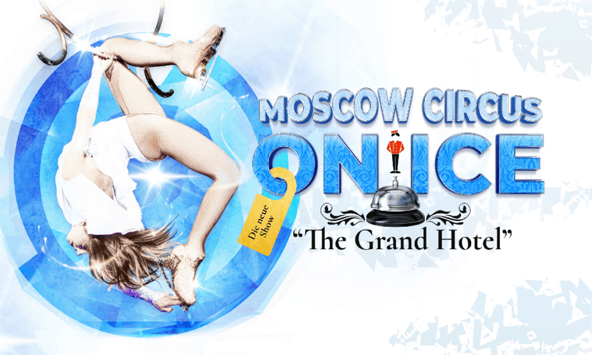 Circus on ice Grand Hotel poster Girl in skates flies in aerial hoop