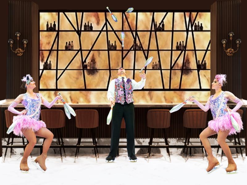 Circus on ice Grand Hotel juggling at lobby bar